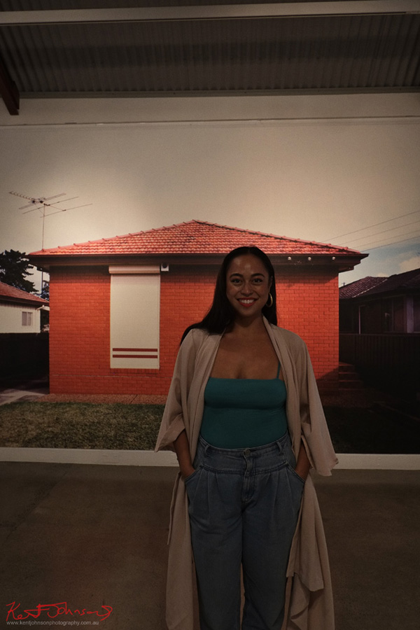 Portrait of Caroline Garcia - post Live Performance & floor talk at Cement Fondu Gallery Paddington, Sydney. Background image House #7 by Garry Trinh. Photography by Kent Johnson.