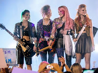 jem holograms movie concert music jam instruments playing pink red purple blue green hair makeup