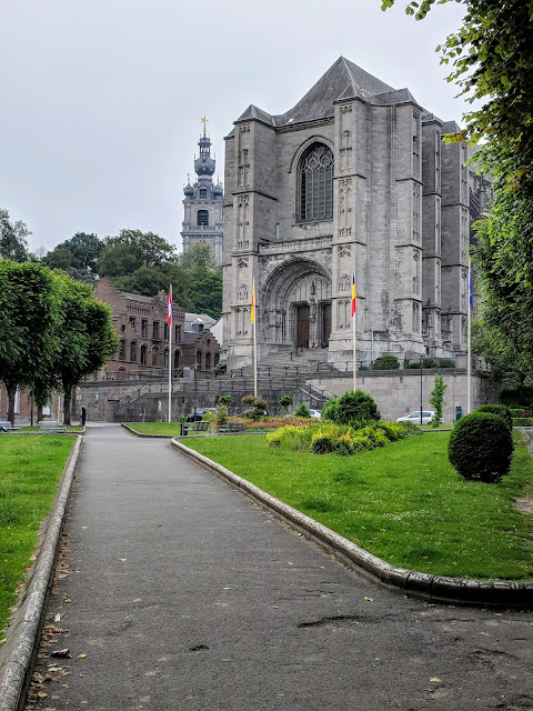 One day in Mons Belgium: Park outside Sainte-Waudru Church