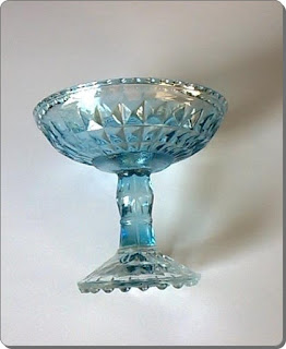 Empty Blue Glass Compote
