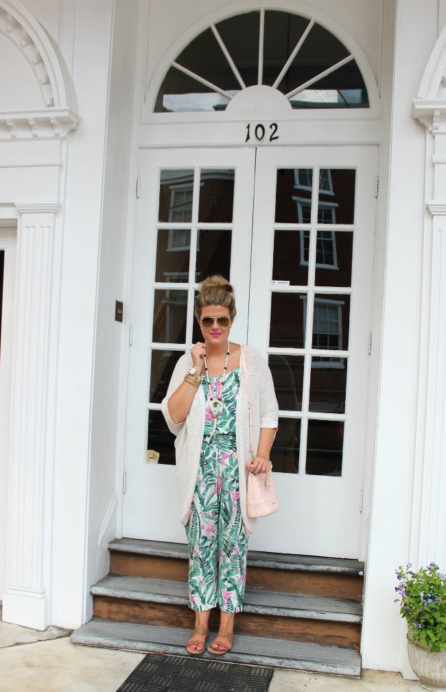 pink and green palm print jumpsuit