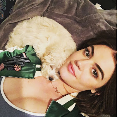 Lucy Hale with her dog Elvis