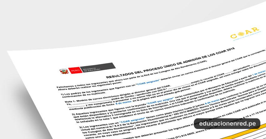 COAR 2018: Minedu Publicó Lista Final de Ingresantes a Colegios de Alto Rendimiento (Resultados 28 Febrero) www.minedu.gob.pe
