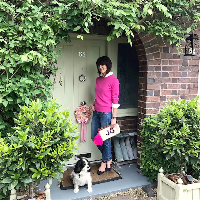 My Midlife Fashion, j crew jane cropped kick flare jeans, marks and spencer block heel court shoes, initially london straw clutch, marks and spencer pure cashmere ribbed round neck jumper, uniqlo frill high collar blouse, initially london ibiza clutch