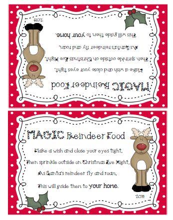 Printable Magic Reindeer Food Labels