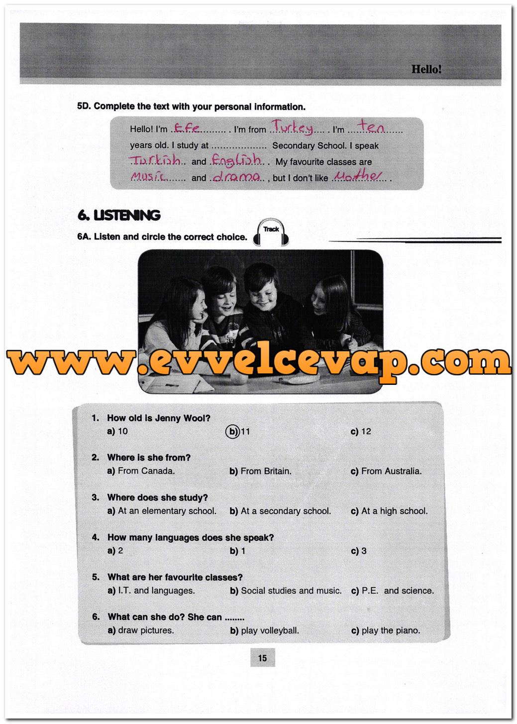 5. Sınıf Özgün Yayınları İngilizce 15. Sayfa Cevapları