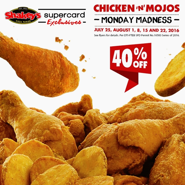 Shakey's Pizza Chicken 'N' Mojos Monday Madness Promo, Blog Review Menu Shakey's Philippines, Shakey's Facebook Twitter Instagram Promos