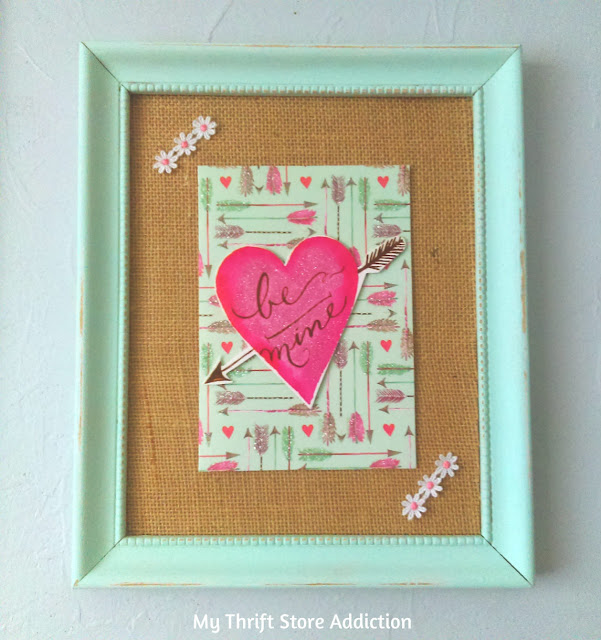 repurposed greeting card Valentine art