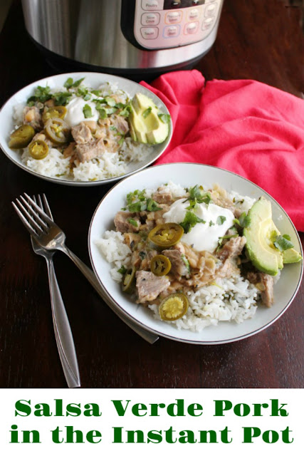 salsa verde pork burrito bowls with title text