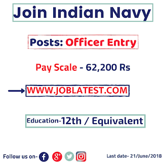Join Indian Navy : 10+2 Cadet Entry Scheme 2018 : B.Tech Online Form