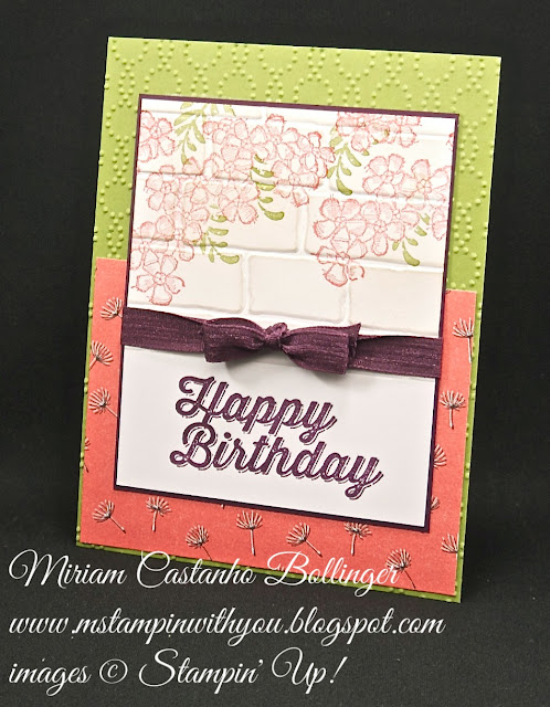 Miriam Castanho-Bollinger, #mstampin with you, stampin up, demonstrator, dsc, birthday card, awesomely artistic, birthday blossoms stamp set, wildflower fields dsp, perfect pairings stamp set, brick wall tief, elegant dots tief, su
