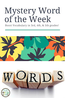 Need an easy way to improve the vocabulary of your entire class in less than 5 minutes per day? Use the Mystery Word of the Week clues to spark engaging discussions of words. Perfect for 3rd, 4th and 5th grades. Blog post from www.HelloMrsSykes.com