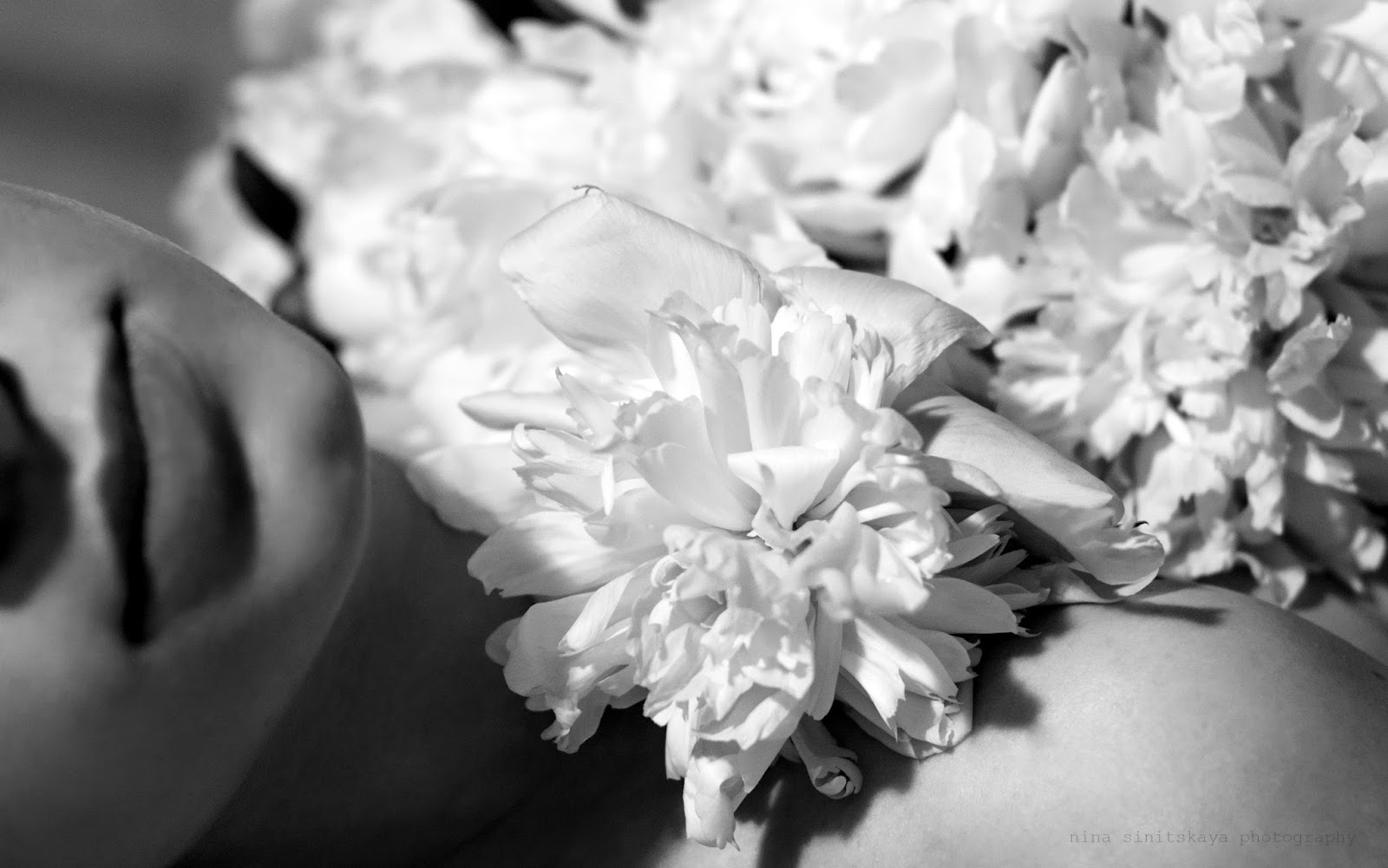 Black and white photograph of a girl holding peony flower and covered with petals