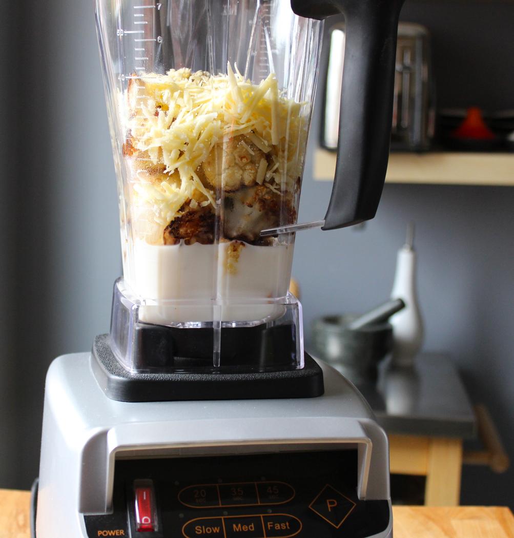 Cauliflower Cheese Soup Ingredients in Blender Jug