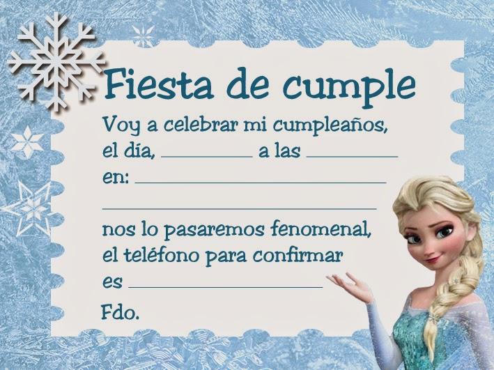 Tarjetas Cumpleaños Frozen