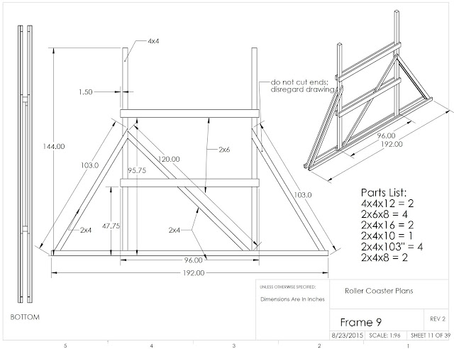 engineering drawing with dimensions and parts list