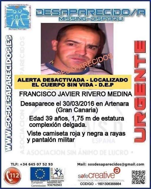 Encuentran muerto a Francisco Rivero Medina, hombre de desaparecido en Artenara
