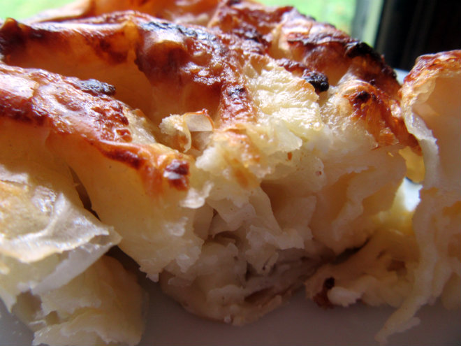 Savory filo pie with cheese by Laka kuharica: bake in the oven at 200°C for 40 minutes.
