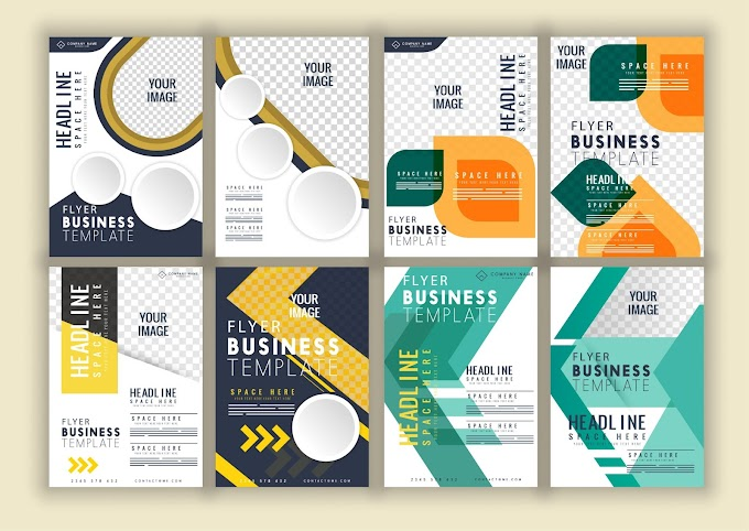 Flyer templates collection bright colorful elegant modern decor Free vector