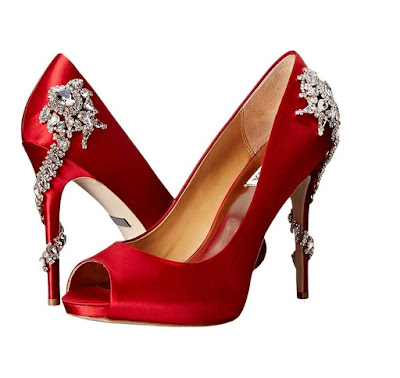 Badgley Mishka red satin high heeled peeptoes with embellishment