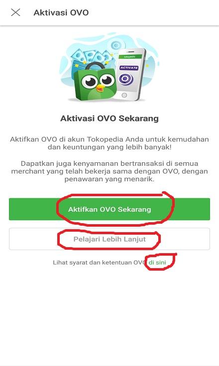 Mengaktifkan Fitur OVO Cash Tokopedia.