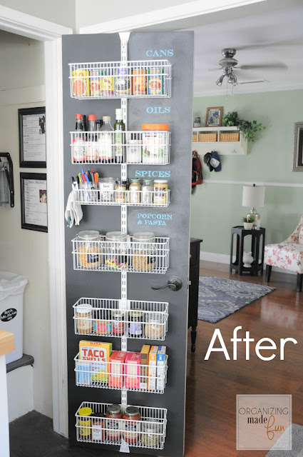 AFTER: Organized back of door pantry with chalkboard :: OrganizingMadeFun.com