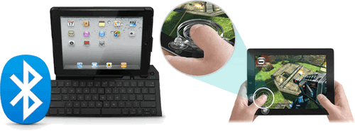 Logitech fold-up keyboard and suction cup joystick for iPad