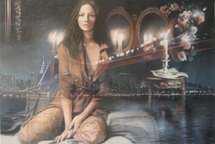 Gianni Bellini 1965 | Italian Figurative Mixed media painter | Moulin Rouge