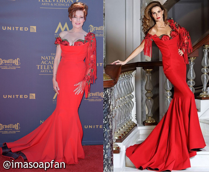Carolyn Hennesy, Diane Miller, General Hospital, GH, Fouad Sarkis, Red Rose Mermaid Gown, 2017 Daytime Emmy Awards Dress