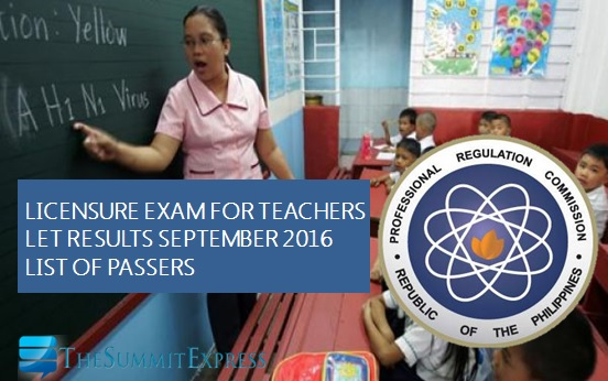 LET Results September 2016 teachers board exam