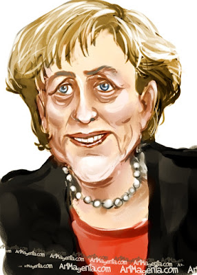 Angela Merkel caricature cartoon. Portrait drawing by caricaturist Artmagenta