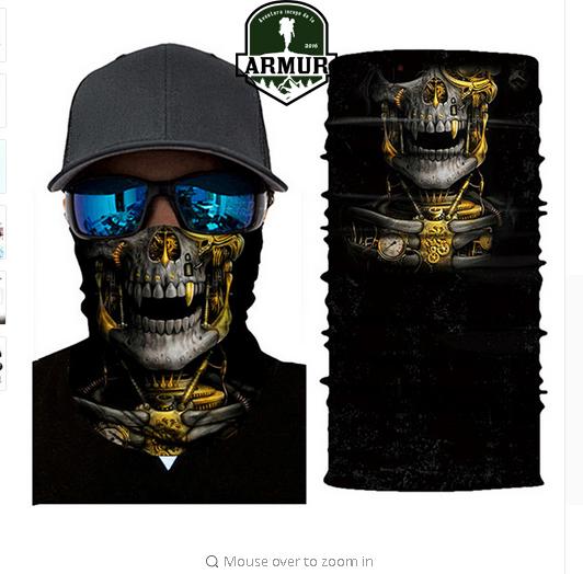 Bandana Steampunk multifunctional buff esarfa cagula skull craniu
