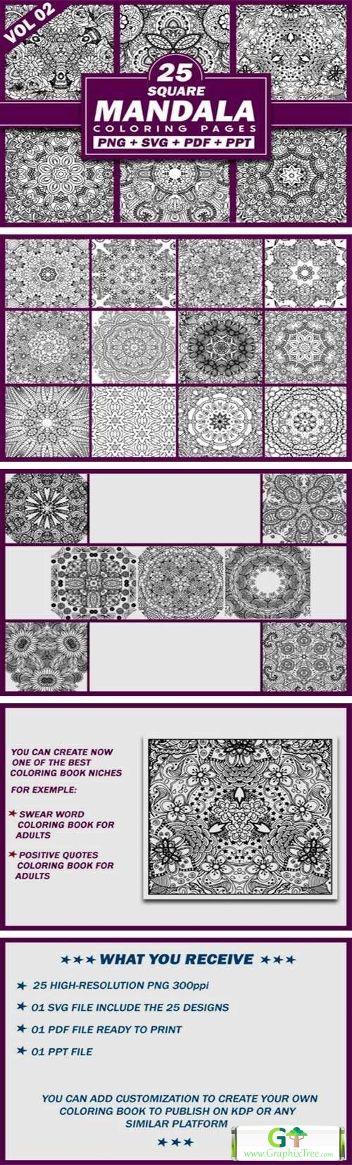 25 Square Mandala Coloring Pages | KDP