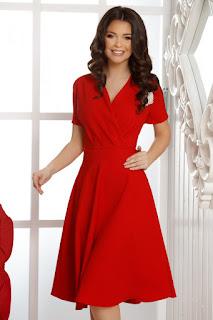 rochie eleganta rosie de nunta ieftina si frumoasa