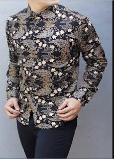 Baju Batik Pria Kerah Shanghai Lengan Panjang