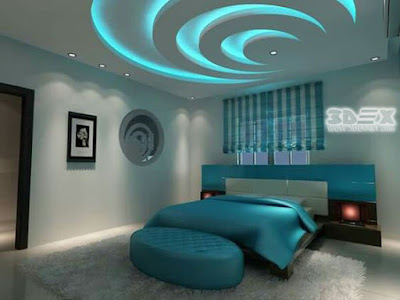 modern gypsum board false ceiling design for bedrooms with colored ceiling LED lights