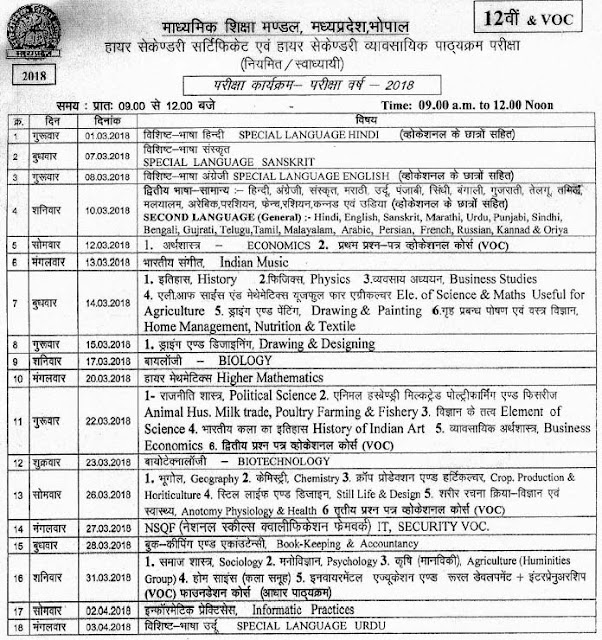 Madhya Pradesh 12th Class Exam Time Table 2018