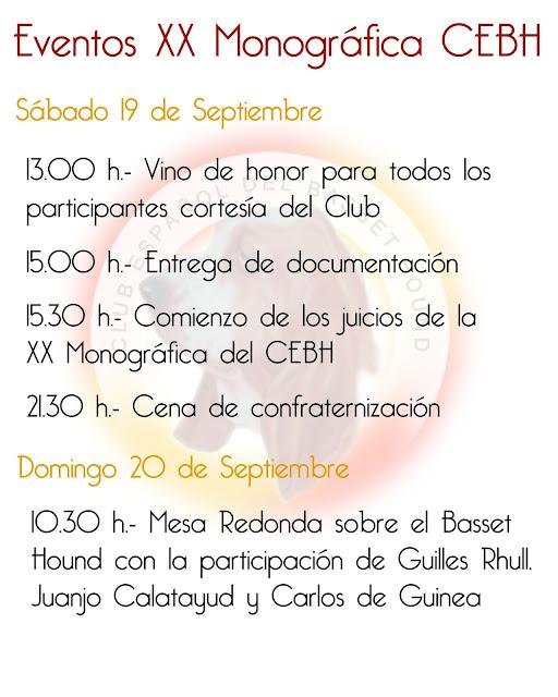 Agenda de eventos fin de semana XX Monográfica CEBH 1