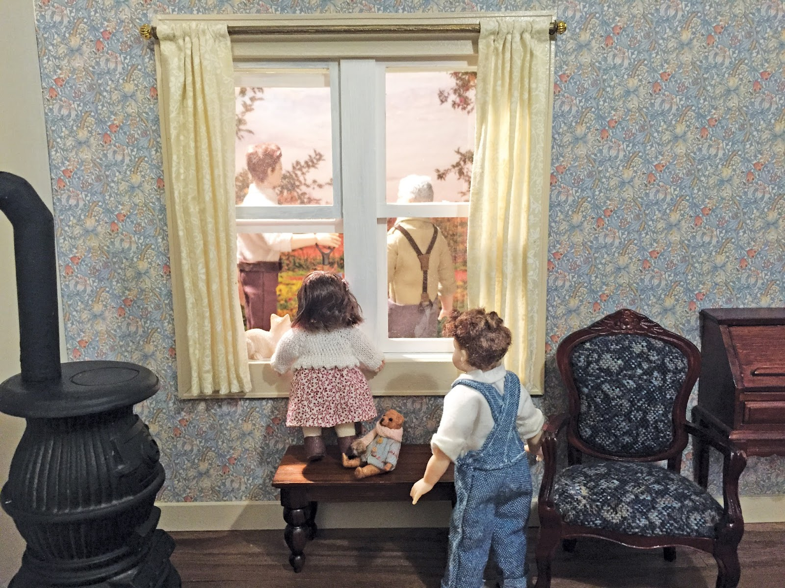 Dollhouse Curtain On A Curtain Rod
