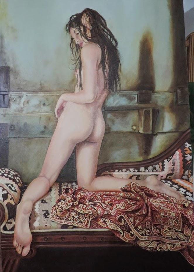 Desnudo hiperrealista oleo sobre lienzo por Jorge Marin,  artistas realistas de colombia