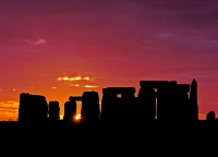 Stonehenge Pink Sky at Night