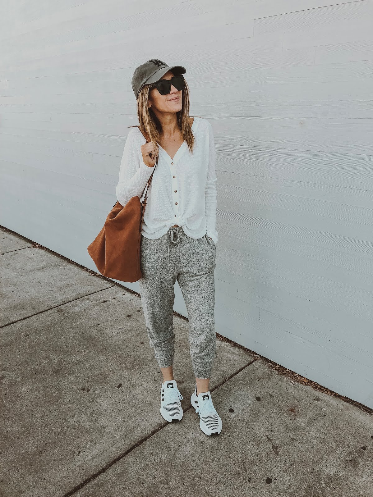 spring athleisure white thermal gray joggers