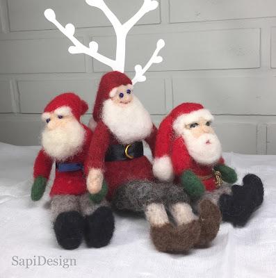 tonttu neulahuovutus joulu uniikki SapiDesign