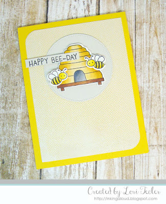 Happy Bee-Day card-designed by Lori Tecler/Inking Aloud-stamps and dies from My Favorite Things
