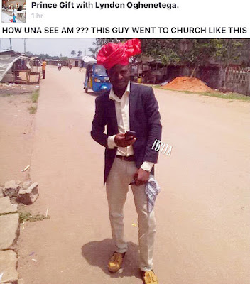#MothersDay: This Man Rocked His Mum Headgear To Church Today. Photo