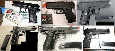 Airsoft Guns Discovered at (L-R)   PSP, HNL, PHX, DEN, BUR, BDL
