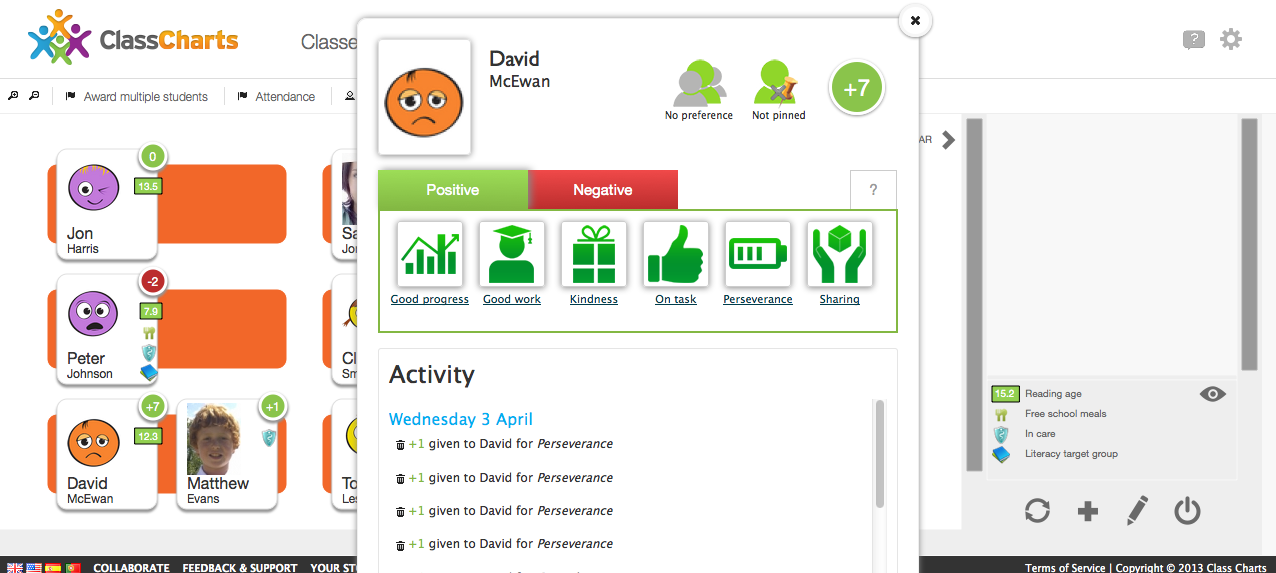 for attendance or behavior you can record positive and negative behaviors students and parents can see their reports by accessing class charts through