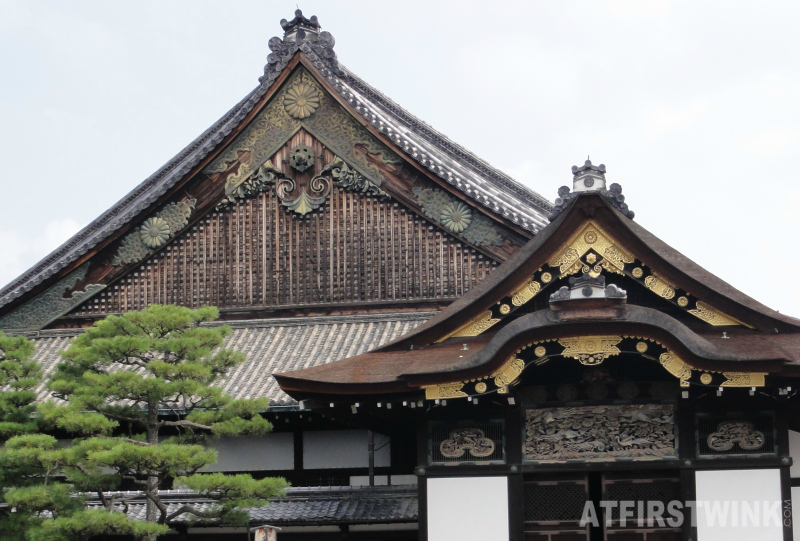 Ninomaru palace close up roof front nijo castle kyoto japan