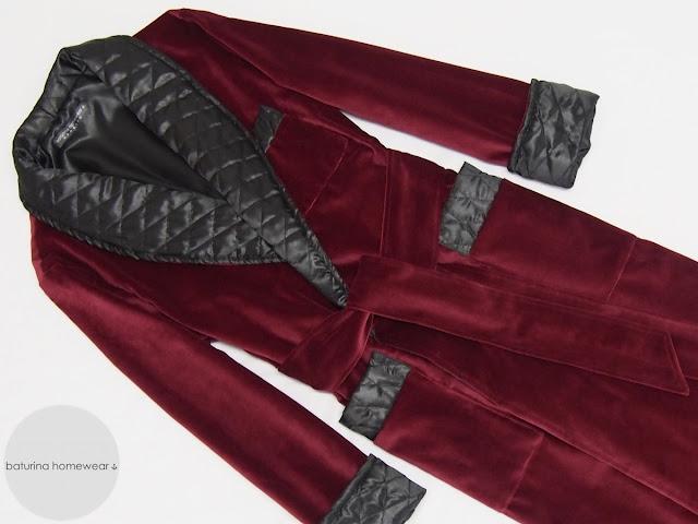 Men's burgundy velvet robe gentleman's dressing gown vintage style long warm