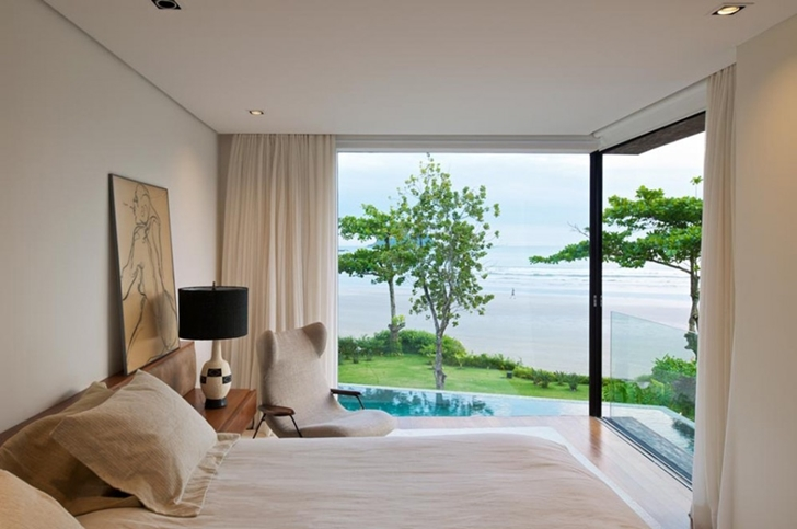 Bedroom view in Modern beach house in Brazil